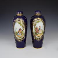 Pair of Large Dresden Porcelain Vases & Covers c.1880 (4 of 12)