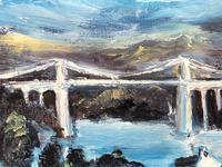 20th Century Oil Painting Wales Menai Bridge Church Straits Snowdonia Mountains (25 of 27)