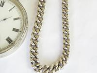 Antique Silver Pocket Watch & Chain (4 of 6)