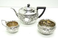 English Victorian Antique Solid Silver Tea Set, Embossed Decoration c.1890 (8 of 11)
