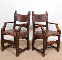 4 Dining Chairs Ships Nautical Chairs Oak Leather 19th Century (10 of 10)