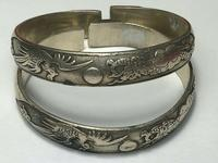 Pair Chinese Republic Silver Plate Bracelet Bangles Dragons Fenghuang Phoenix (10 of 12)