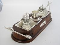 Decorative Late Victorian Oak & Silver Plate Ink Stand (9 of 9)