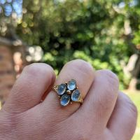 Vintage 9ct Yellow Gold Four Moonstone Cabochon Ring (8 of 9)