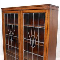 Oak Leaded Stained Glazed Bookcase Arts & Crafts Edwardian (8 of 11)