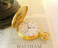 Vintage Swiss Waltham Pocket Watch 1970s 17 Jewel 12ct Gold Plated Half Hunter FWO (2 of 12)
