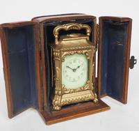Antique Travelling Miniature Carriage Clock - Original Leather Case Made of Gilt Metal with Enamel Dial Mantel Clock (8 of 12)