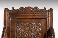 Charles II Style Oak Panelled Armchair (4 of 5)