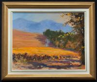 South African School - Lovely Original 20thc Harvesting Landscape Oil Painting