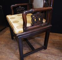 Pair Antique Chinese Armchairs Hardwood 19th Century Seat Chair (5 of 13)