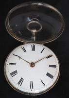 Good Antique Silver Pair Case Pocket Watch Fusee Verge Escapement Key Wind Enamel Dial Robinson London (3 of 11)