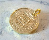 Vintage Pocket Watch Chain Fob 1967 Queen Elizabeth Threepenny Bit Old 3d Coin Fob (2 of 4)