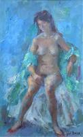 Original Vintage Antique Impressionist Erotica Nude Oil Portrait Painting (2 of 11)