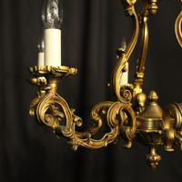 French Gilded Bronze 8 Light Rococo Chandelier c.1930 (2 of 10)