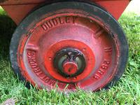 English Vintage Railway Willmot Trolley Oak Iron Plank Top Coffee Wheel Table (15 of 25)