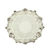 """Antique Victorian Sterling Silver 9"""" Tray 1854 (9 of 9)"""