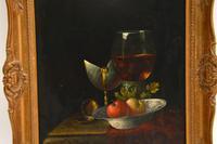 Antique Still Life Oil on Board Painting by F.V Knapp (3 of 8)