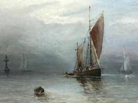 Scottish Marine Oil Painting Sailing Fishing Boats on the Tay Estuary by Dundee (23 of 23)