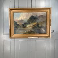 Antique large Scottish landscape oil painting of cottage by loch signed Montgomery Ansell (2 of 10)