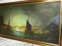 "Dutch Impressionist Oil Painting ""Amsterdam Shipping by Moonlight Illumination"" (5 of 12)"