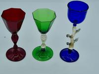 Salviati Glasses Set if 3 Different Liqueur Glass with Unusual Beautiful Feet (2 of 7)