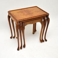 Queen Anne Style Burr Walnut Nest of Tables c.1930 (2 of 9)