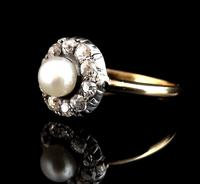 Antique pearl and diamond cluster ring, 18ct gold (5 of 9)
