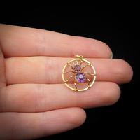 Antique Amethyst Paste 9ct Gold Spider Pendant (9 of 9)