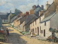 Large Original Edwardian Antique Yorkshire Hamlet Landscape Watercolour Painting (4 of 13)
