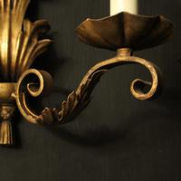 French Set of 4 Gilded Iron Twin Arm Wall Lights (7 of 10)