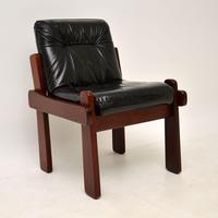 Rosewood & Leather Dining Table & Chairs Vintage 1970's (4 of 19)