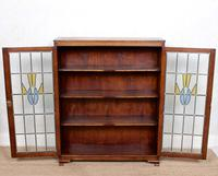 Oak Leaded Stained Glazed Bookcase Arts & Crafts Edwardian (11 of 11)
