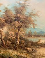 Large Fabulous 20th Century Vintage British Autumn Country Landscape Oil Painting (8 of 12)