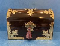 Victorian Fully Fitted Brassbound Coromandel Stationary Box