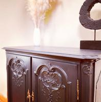 French Antique Style Cabinet / Black Cupboard / Louis XV Style (9 of 10)