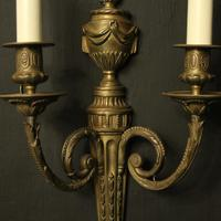French Pair of Bronze Antique Wall Sconces (4 of 10)