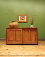 Antique Pitch Pine Low Filing or Record Cabinet with Sliding Doors