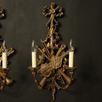 Italian Giltwood Pair of Twin Arm Wall Lights (9 of 10)