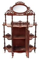 Victorian Walnut 4 Tier Whatnot with Centre Mirrored Cupboard (2 of 5)