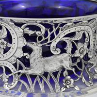 Large Victorian Irish Silver Dish 'Potato' Ring Wakely & Wheeler Wild Animals (11 of 18)