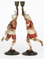 Pair of Continental, Probably French, Cold Painted Metal Figural Candlesticks (2 of 27)