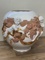 Beautiful Hollywood Regency Style Oversized Porcelain & Terracotta Cherub Floor Vase (2 of 52)