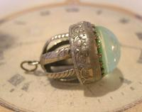 Vintage Pocket Watch Chain Fob 1950s Large Silver Nickel Victorian Revival Fob (7 of 8)