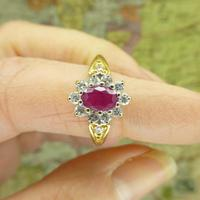 Vintage 18ct gold oval ruby & diamond cluster ring ~ Valentine proposal (5 of 10)