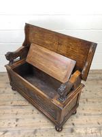 Antique Carved Oak Monk's Bench (9 of 10)