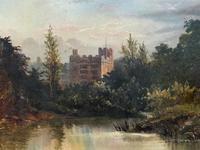 Lovely Original Mid 19th Century Antique British Castle River Landscape Oil Painting (3 of 11)