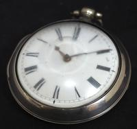 Antique Silver Pair Case Pocket Watch Fusee Verge Escapement Key Wind Enamel Dial James Bucknell (5 of 11)