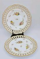 Pair of Copeland England Antique Reticulated Floral 19th Century Cabinet Plates