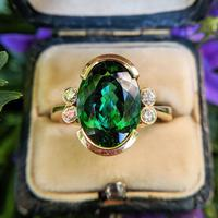 Vintage 18ct Gold Green Tourmaline & Diamond Dress Ring (2 of 13)