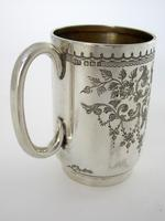 Late Victorian Hand Engraved Silver Christening Mug with Gilt Interior (5 of 7)